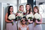 Bridal party beauties with their bouquets