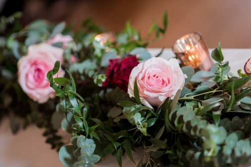 Lush, greenery sweetheart table garland