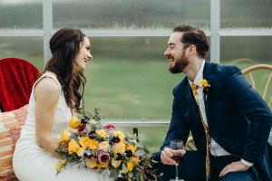vineyard wedding, washington wedding venue, yellow and burgundy wedding, yellow flowers, bride and groom, bride bouquet