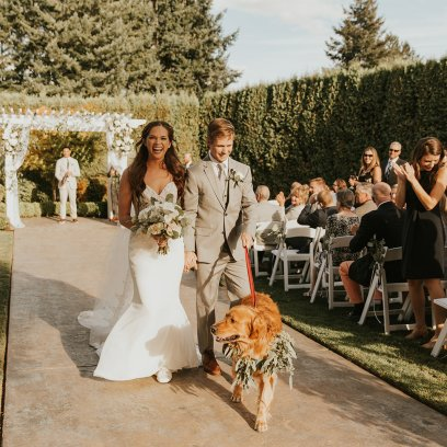 Bride and groom and their dog! Dogs in weddings! Dog collar of lush seeded eucalyptus