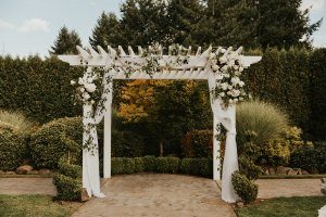 wedding arbor, classic wedding arbor, arbor decor, arch decor, floral installation, ceremony flowers, white and greenery florals, wedding flowers