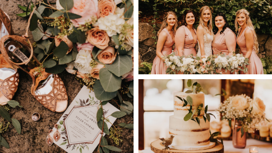 rose gold wedding, rose gold and ivory palette, wedding palette, forest wedding, elegant romantic, rustic elegant wedding, washington wedding venue, southwest washington wedding venue, portland wedding venue, portland wedding