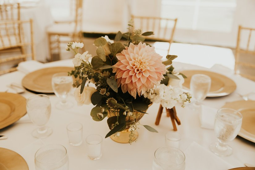 cafe au lait dahlia, classic wedding flowers, eucalyptus, gold, ivory, blush flowers, urn centerpieces