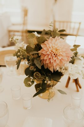 Guest table centerpieces, table decor, wedding table decor, wedding table florals, cafe au lait dahlias, summer wedding, outdoor wedding tent, romantic style wedding, compote urn centerpieces