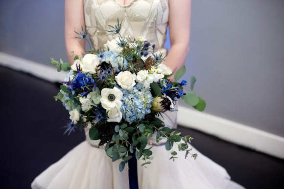 blue hydrangea, blue ribbon, blue bouquet, elegant romantic bouquet, high end luxury flowers, luxury wedding florist, bride bouquet, portland florist, portland wedding florist