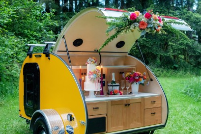 Camping trailer wedding, forest wedding, elope, elopement wedding