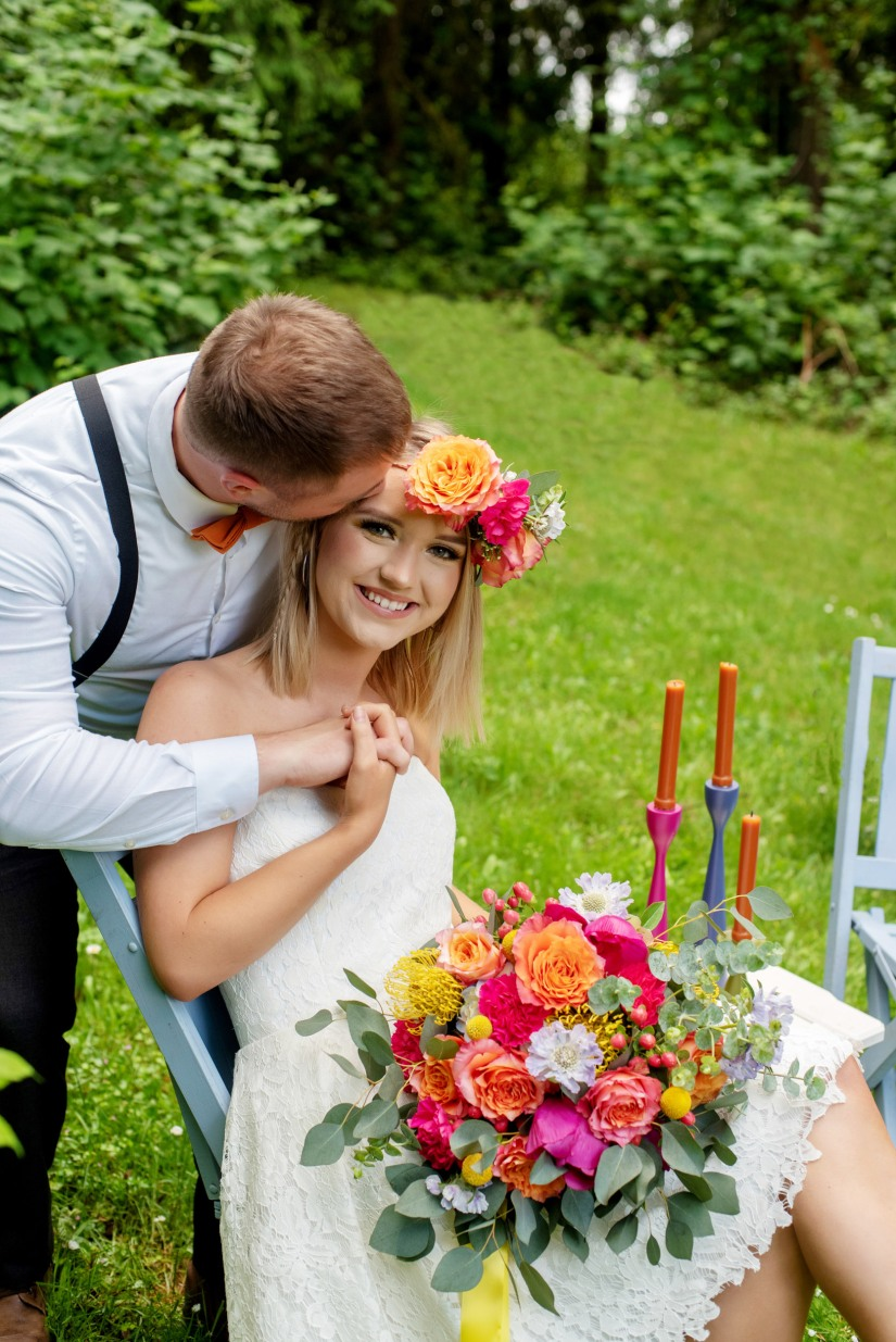 Bride bouquet, colorful wedding, hot pink and orange wedding flowers, bridal flower crown, lush and beautiful wedding bouquet, eucalyptus, garden roses