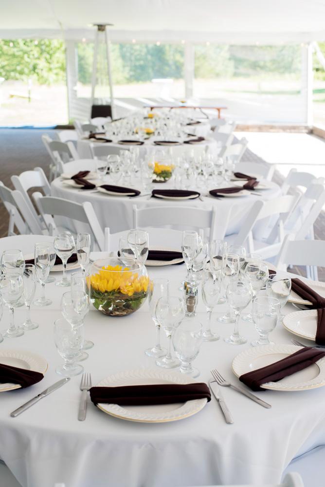 fishbowl centerpieces, sunflower centerpieces, sunflower wedding, reception flowers, guest table flowers, guest table centerpieces, sunflower fishbowl arrangement, summer wedding