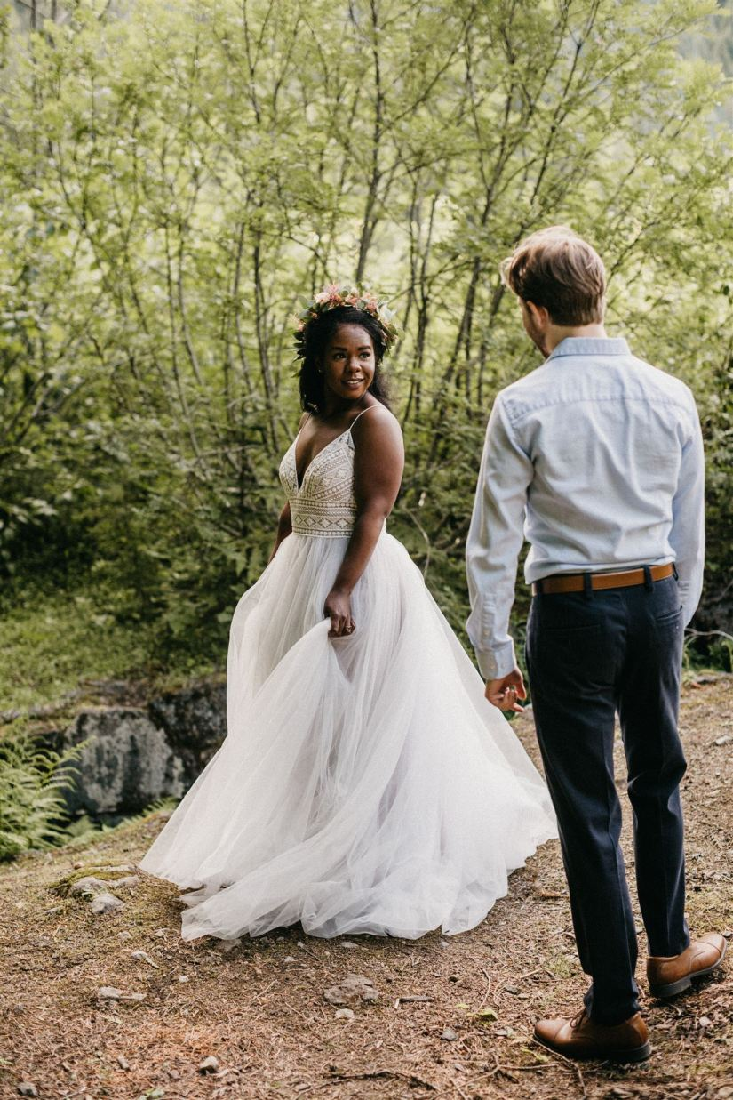 first look, forest wedding, bride and groom, engaged, engagement photos, elopement photos, elope, covid wedding