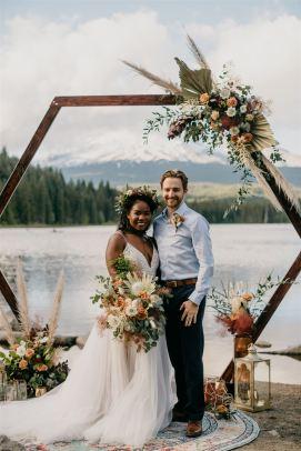 Hexagon arch, boho elopement, adventure wedding, outdoor wedding, lakeside wedding, mountain wedding
