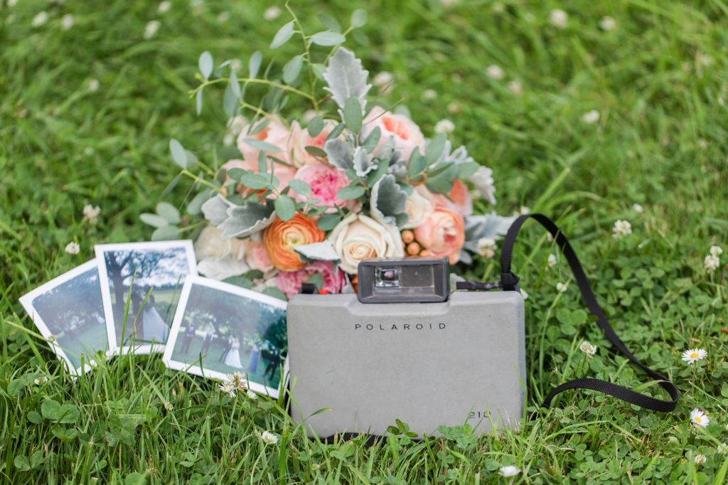 polaroid at wedding, memory making at wedding, polaroid camera, polaroid, bridal bouquet, bridal flowers,