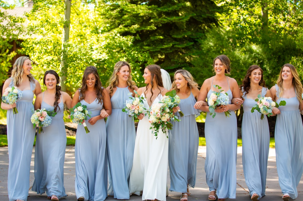 Dusty blue bridesmaid dresses, bridal party flowers, pastel wedding palette, pastel wedding flowers, bridesmaid bouquets, blue and pink wedding, blush and pale blue wedding, oregon florist, oregon wedding florist